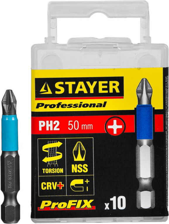 "картинка Биты STAYER ""PROFESSIONAL"" ProFix Phillips, тип хвостовика E 1/4"", № 2, L=50мм, 10шт от магазина Blockbest"